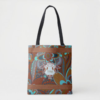 Tote Bag Brown et turquoise, Boho
