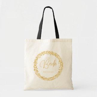 Tote Bag Cadre de cercle de confettis d'or épousant la