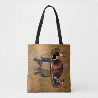 Tote Bag Canard en bois sur le lac d'or