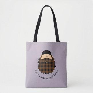 Tote Bag Caractère barbu de plaid brun chocolat mignon