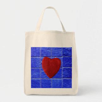 Tote Bag Carreaux arrière-plan bleus coeur