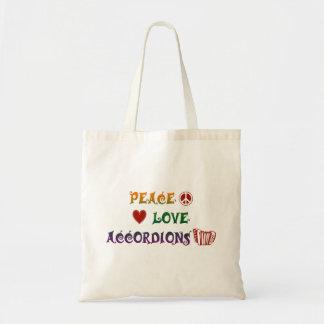 Tote Bag Carrés d'arc-en-ciel d'accordéons d'amour de paix