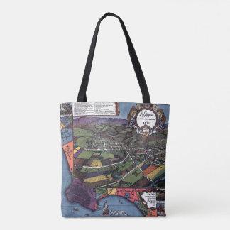 Tote Bag Carte antique, ville aérienne de Los Angeles la