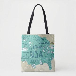 Tote Bag Carte de griffonnage des Etats-Unis