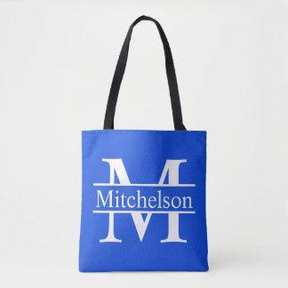 Tote Bag CBLF bleu décoré d'un monogramme