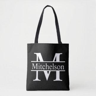 Tote Bag CBLF noir décoré d'un monogramme