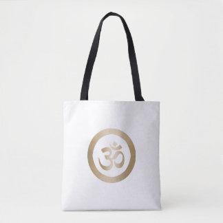 Tote Bag Cercle d'or de yoga et symbole de l'OM