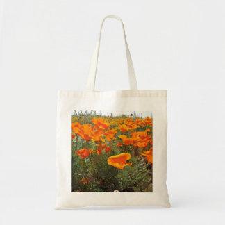 Tote Bag Champ orange de pavot des fleurs