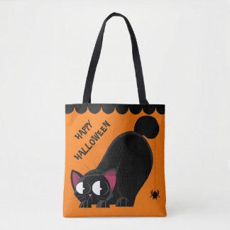 Tote Bag Chat noir et araignée de Halloween
