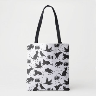 Tote Bag Chats et corneilles Fourre-tout noir et blanc