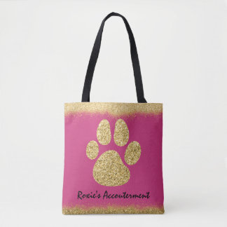 Tote Bag Chiot Bling de parties scintillantes d'or de Faux