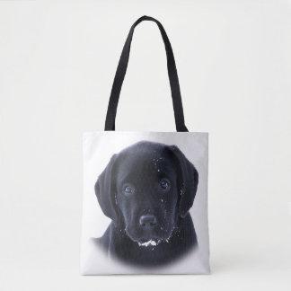 Tote Bag Chiot de neige - Labrador noir