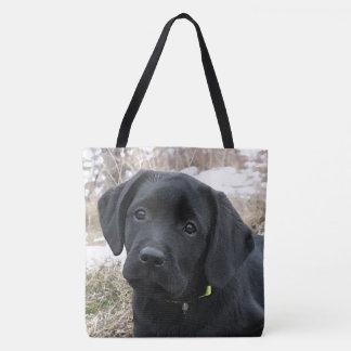Tote Bag Chiot noir de Labrador - chasse tôt à ressort