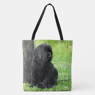 Tote Bag Chiot noir de Labrador - jours de chiot d'été