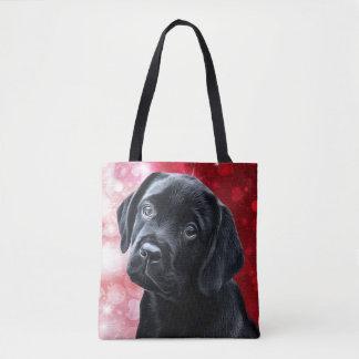 Tote Bag Chiot noir de Labrador Valentine