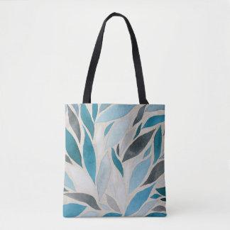Tote Bag Chute - bleus d'aquarelle d'automne