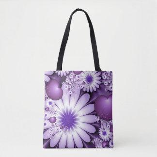 Tote Bag Chute dans la fractale de fleurs et de coeurs