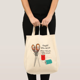 Tote Bag Ciseaux et fil drôles