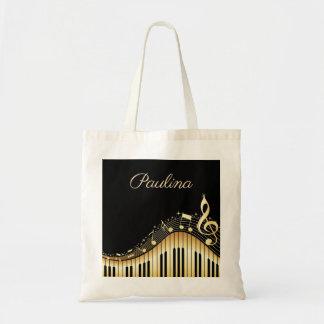 Tote Bag Clavier décoré d'un monogramme de musique