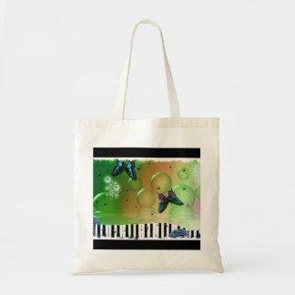 Tote Bag Clés de piano de papillons