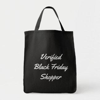 Tote Bag Client noir de vendredi vérifié par typographie
