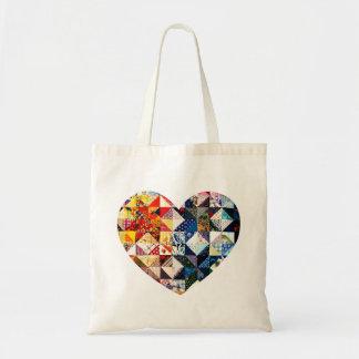 Tote Bag Coeur coloré d'édredon de patchwork