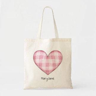Tote Bag Coeur de plaid avec le nom