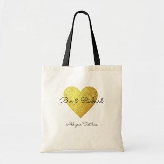 Tote Bag coeur d'or de faux du mariage d'amour