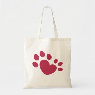 Tote Bag Coeur Polydactyl d'empreinte de patte de chat