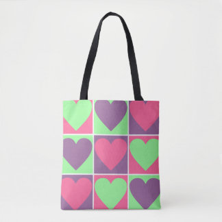 Tote Bag Coeurs en pastel