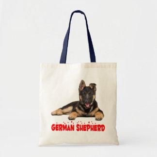 Tote Bag Coeurs rouges d'amour de chiot de berger allemand
