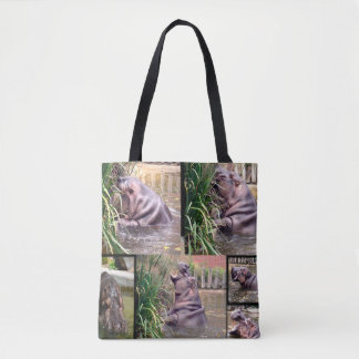 Tote Bag Collage de photo d'hippopotame,