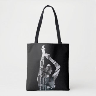 Tote Bag Collage noir et blanc avec la fille de danse