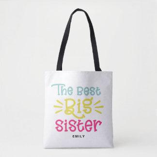 Tote Bag Coloré la meilleure main mignonne de grande soeur