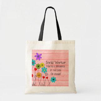 Tote Bag Conception florale de citation d'assistant social