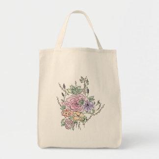 Tote Bag conception florale de style d'aquarelle