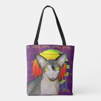 Tote Bag Conception folle de chat avec le chat de Sphynx et