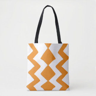 Tote Bag Conception orange et blanche de zigzag