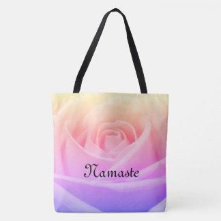Tote Bag Conception rose de Namaste de joli arc-en-ciel