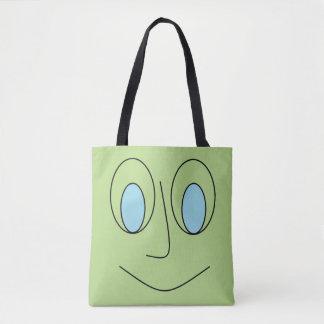 Tote Bag Conception souriante de visage observée par bleu