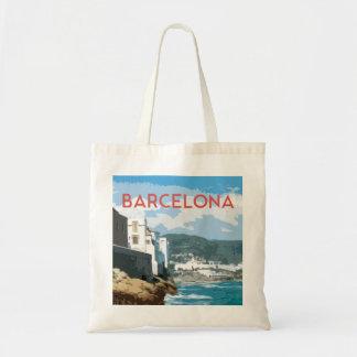Tote Bag Côte de Barcelone, style vintage de voyage de