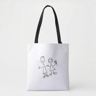 Tote Bag Couples de sourire de pair des amants dessinant le