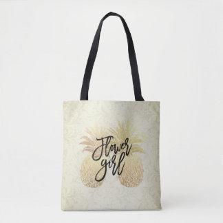 Tote Bag Couples vintages d'ananas d'or de demoiselle de