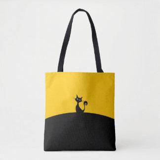 Tote Bag Coutume de chat noir tout plus de - imprimez le