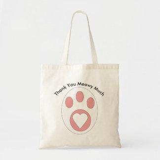 Tote Bag Coutume noire et blanche de coeur de patte de chat