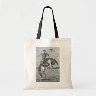Tote Bag Cowboys vintages de rodéo, Bronco s'opposant par