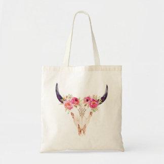 Tote Bag Crâne de Taureau avec les fleurs roses