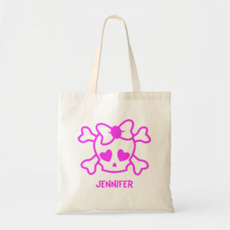 Tote Bag Crâne girly rose d'emo avec l'arc
