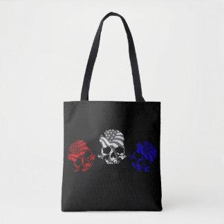 Tote Bag Crânes américains blanc et bleu rouges