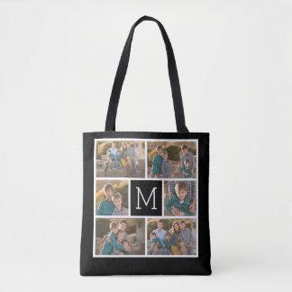 Tote Bag Créez votre propre collage de photo - monogramme